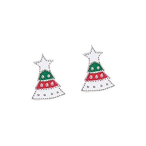 1Pair Christmas Theme Schmuck S925 Hypoallergene Ohrfeigen Santa Claus, Green Christmas Tree, Present Box Shaped Holiday Earrings Geschenk für Frauen Girls-Green Christmas Tree