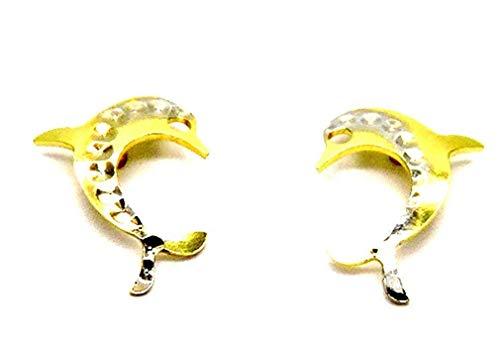 Pegaso Gioielli-Ohrringe Gelbgold 18Kt Delphine glänzend und gehämmert-Ohrstecker Mädchen Mädchen