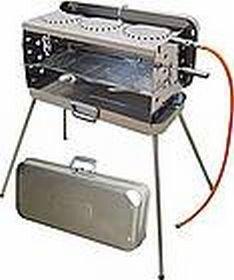 STABIELO - EDELSTAHL - KOFFER GRILL - mit 3 KOCHSTELLEN - 50 mbar Version + Gasschlauch + Koffer, Seitenteile , Brenner und Kochplatten aus Edelstahl - MODELL : CRAMER BERGAMO - Vertrieb durch Holly Produkte STABIELO Innovationen Made in Germany - !!! AUC