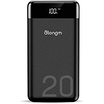 atongm 20000mAh Portable Double USB Port Li-Polymer External Battery Power Bank with Digital Display for Mobile Phones (Black)