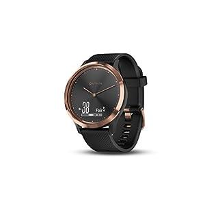 Garmin Vivomove HR Sport Smartwatch analógico con pantalla táctil LCD, sensor de cardio integrado, oro rosa con correa de silicona negra 010-01850-06
