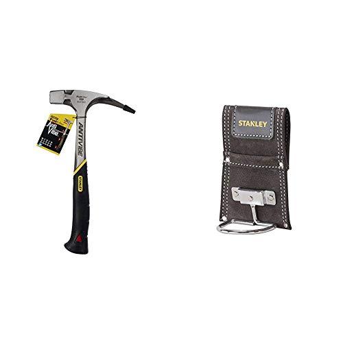 Stanley FatMax Antivibe Latthammer (600 g Kopfgewicht, 340 mm Länge, ergonomischer DynaGrip-Griff, vibrationsgedämpft) 1-51-937 & Hammerhalter aus Büffelleder mit Metallbogen