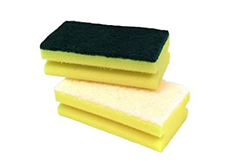 Gripped Non Scratch Sponge Scourers With White Scourer & Yellow Sponge