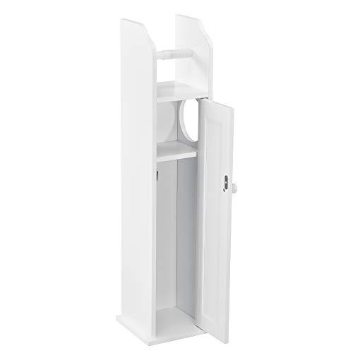 [en.casa] Badezimmerschrank 78x20x18cm Toilettenpapierhalter Badschrank Badregal Schrank Eckschrank Weiß
