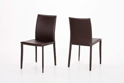 2 Esszimmerstühle mit braunem Leder bezogen, Maße B/H/T ca. 46/90/55 cm
