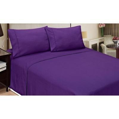 Super Soft 350Fadenzahl 100% Baumwolle 5-teiliges Bettbezug-Set mit Spannbettlaken Spannbetttuch Lila, UK Super King Size, massiv