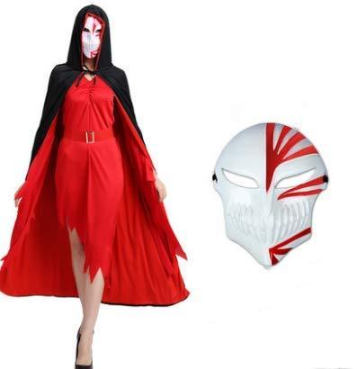HLJZK Halloween Cape Umhang Erwachsenen Umhang Ghost Dance Robe Umhang Vampir Kostüm Rot Schwarz Umhang + Rot Eine Maske (Ohne Kleidung) 170Cm (Für Erwachsene Ghost Robe Kostüm)