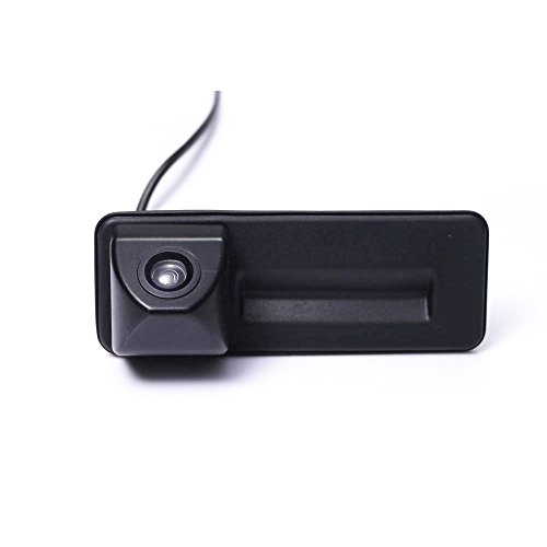 Navinio Wasserdicht Nachtsicht Kofferraum Griff Rückfahrkamera für VW Skoda Rapid Roomster Superb Cambi Yeti Fabia Octavia II 1Z5 Audi A1 (Nr. 2 Quadratische Schnittstelle) -