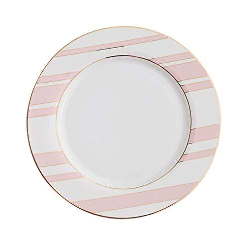 LI plaque- Vaisselle en céramique ronde nordique créative - Assiette à salade à desserts Sushi Sashimi Cake (1 emballage) tableware (Couleur : Pink, taille : 21.5cm)