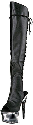 Preisvergleich Produktbild Pleaser ILLUSION-3019 Blk Faux Leather / SLV Chrome UK 6 (EU 39)