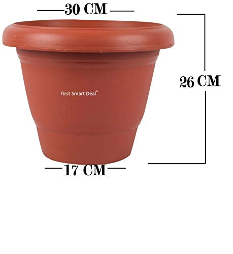 First-Smart-Deal-Plastic-Round-Pot-Set-12-inch-Brown-Pack-of-6