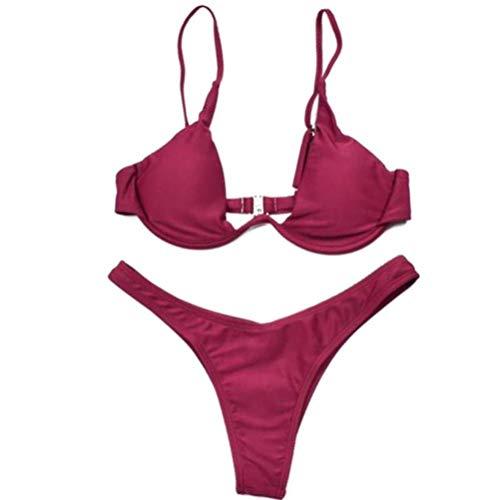 70's Workout Mädchen Kostüm (ZXnrz Monokini Badeanzug-Frauen-Bikini-Badeanzug, Wein-Rot-Dreieck-Retro Außen Strand Split-Badeanzug 1015 (Color : A, Size :)