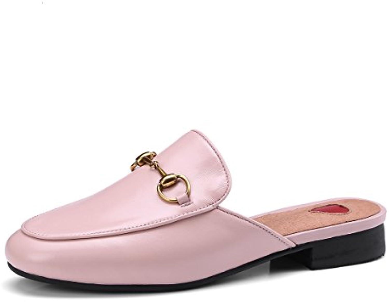 SHINIK Zapatillas para mujer Half Drag Leather Primavera Verano Nuevo Mocasines planos Comfort Zapatillas y chanclas...