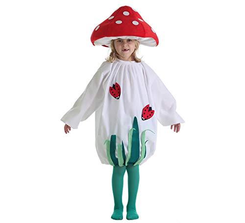 Disfraz de Hongo o Seta para niños en varias tallas UNISEX. Incluye vestido, sombrero y medias. Disfraz MUY completo que incluye incluso las medias verdes que lleva la modelo. Para ver la relación entre tallas en nuestra tabla de medidas hay que tene...