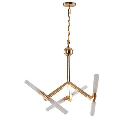 FEE-ZC LED Kronleuchter,Gold Moderne Acryl Nordic Einfache Persönlichkeit Pendelleuchte Hängelampe Deckenbeleuchtung für Studie Esszimmer, 6 Head