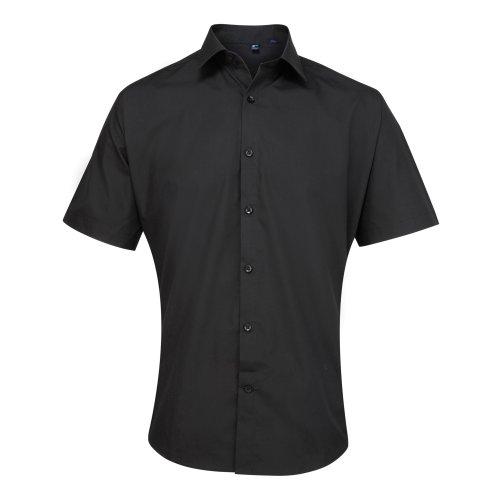 Preisvergleich Produktbild Premier Supreme Herren Hemd / Arbeitshemd, schwere Qualität, kurzärmlig (Kragenweite 42) (Schwarz)
