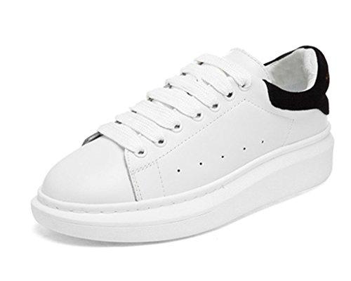 Minetom Damen Plateau Sneakers Sportschuhe Lace-up Laufschuhe Frühling und Sommer Schülerfreizeitschuhe (Schwarz EU 38) -