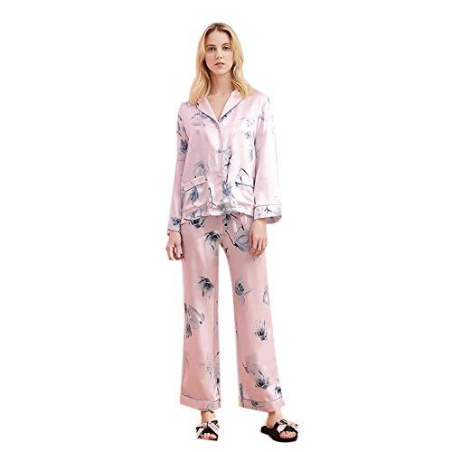 Pijama Casual de Mujer de Seda de la Ropa Corta Pijamas impresión señoras 2Pcs Pura Mora Seda Charmeuse Ocio, Rosa,L