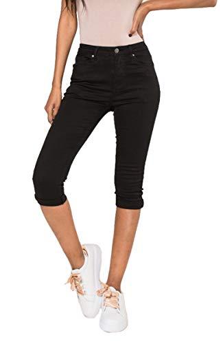 Nina Carter Damen schwarz Caprihose Skinny Kurze Jeans Sommerhose größe 38 -