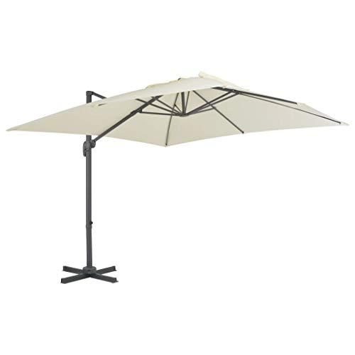 Festnight- Parasol de Jardin en Aluminium Parasol d'extérieur Parasol pour Patio Balcon Parasol de Plage Parasol déporté 300x300 cm Sable