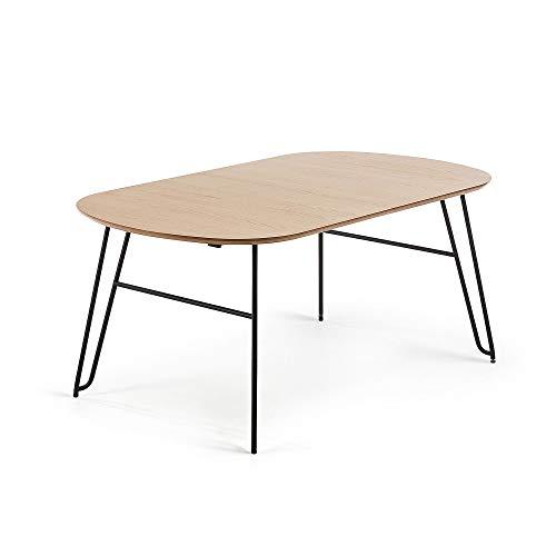 Kave Home Table Ovale Extensible Novac 170x100 cm Bois et Pieds métal
