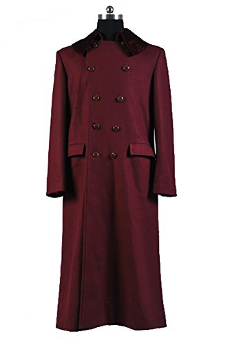 Doctor Who 4th Doctor Plum Red Long Trench Wolle Coat Cosplay Kostüm Herren XS
