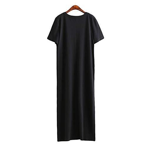 GMZVV Rock Sommer Maxi T Shirt Kleid Frauen Vintage Casual Party Wrap Elegant Strand Schwarz Lange Kleider Plus Size Dressed Mit Temperament Und Eleganz S Schwarz