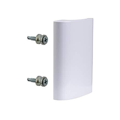 Gedotec Balkontürgriff außen Ziehgriff weiß Türbeschlag Aluminium - Modell DE-LUXE | Alu Balkon-Griff für Türen | Länge 82 mm | Haltegriff gebogen | 1 Stück Terrassen-Türgriff mit Schrauben