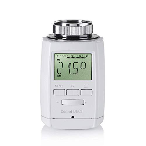 Eurotronic 700018 Comet DECT Heizkörperthermostat, bis 30{62a5df802a94de1242e2097011cde05ba4427242cbe0f8c4a75c3a754e9d0091} Heizkosten sparen mit AVM FRITZ Box kompatibel, Wifi-Heizungsthermostat inkl. Adapter + Batterien, Smarthome-Zubehör