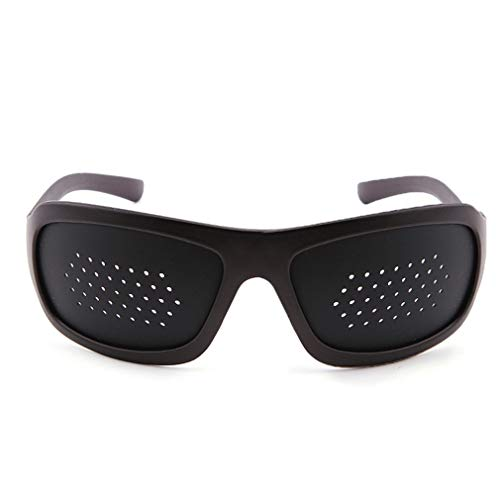 2ST Sehkorrektur Glas-Schwarz-Pinhole Einzel Nase Brille mikroporöser Anti-Fatigue Brille Sicherheit Swap Hybrid Augenschutzbrille/Goggles Art und Weise Retro- Trend Dekorative Spiegel Wraparound