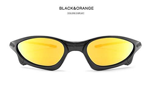 WSKPE Sonnenbrille,Reflexionsarmer Beschichtung Polarisierte Sonnenbrillen Für Männer Fahren Sonnenbrillen Für Männer-Hd-Objektiv Männlichen Schutzbrille Schwarzen Rahmen Orange Linse -