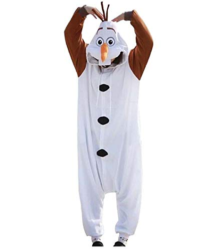 Kinder Pyjama Kostüm Olaf - Pyjamas Bekleidung Animal Erwachsene Unisex Schlafanzüge Karneval Onesies Cosplay Jumpsuits Anime Carnival Olafs Spielanzug Kostüme Weihnachten Halloween Nachtwäsche Mädchen