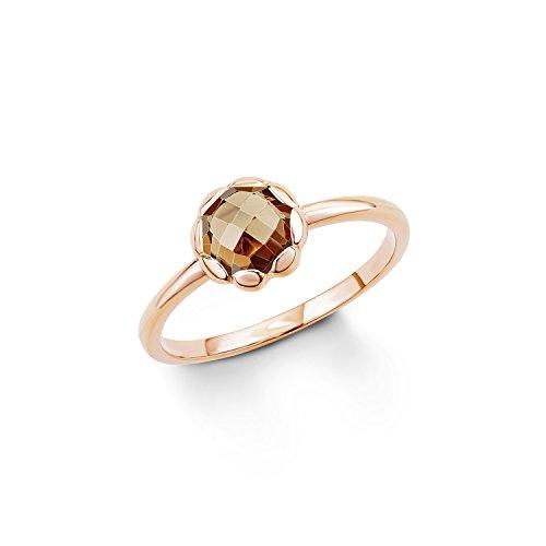 s. Oliver Damen-Ring 925 Silber teilvergoldet Zirkonia braun Rundschliff Gr. 52 (16.6) - 539876
