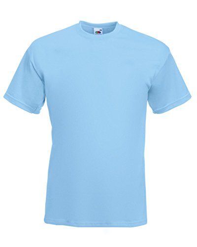 Fruit of the Loom Herren T-Shirt 'Super Premium Tee' 61-044-0 Sky Blue M (Loom Herren Crew T-shirt)