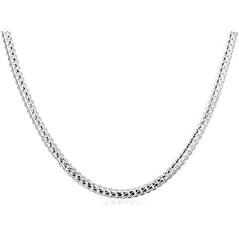 Tanque yourhotstyle Cadena Collar De Plata 925plata de ley en platino, 50cm de largo, incluye caja de regalo)