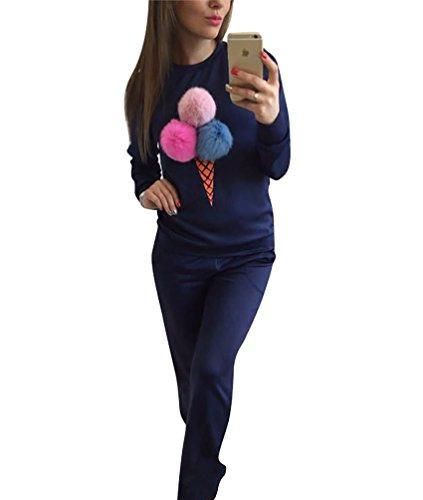 YouPue Sweat-shirt Pullover Ensemble Femmes Puffer Ball Sweatshirt Et Pantalon 2 Pièces Casual Automne et Hiver Marine