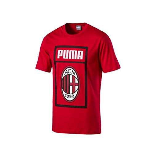 Puma AC Milan Shoe Tag Camiseta, Hombre, Tango Red, Medium