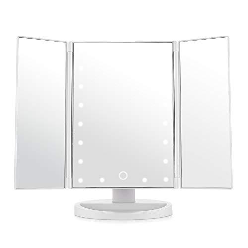 Easehold DJZ002OT Kosmetikspiegel Weiß mit 21 Led Licht Flatbare faltbar Standspiegel 180° frei drehbare für Badezimmer und Schlafzimmer