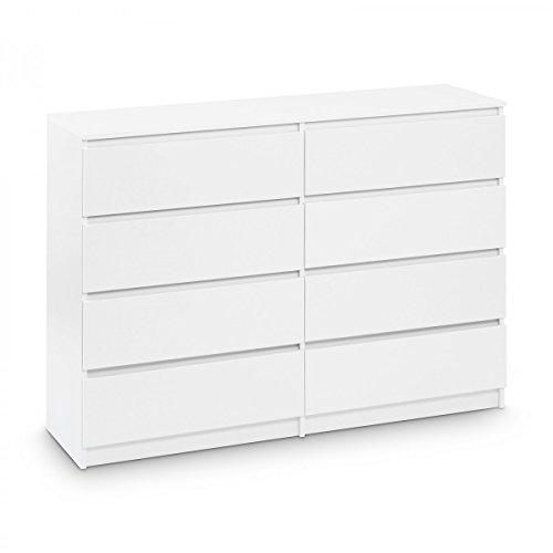 Galdem Kommode Mit 8 Schubladen 140cm Sideboard Mehrzweckschrank Anrichte  Diele Flur Esszimmer Wohnzimmer Weiß