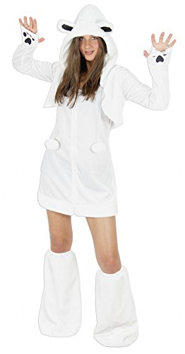 Foxxeo Eisbären Kostüm für Damen Tierkostüme sexy Kleid für Karneval und Fasching Erwachsene Größe L