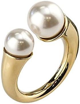 JOOP! Damen-Ring Messing teilvergoldet Glas creme JPRG00792B1