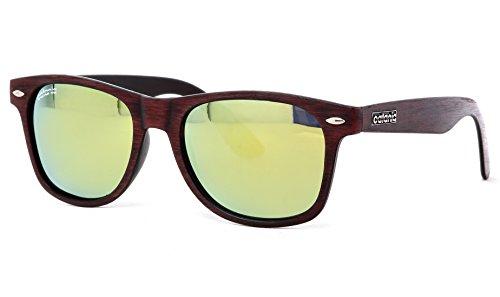 Catania-Occhiali-Gafas-de-Sol-Polarizadas-Premium-Model-Wood-Effect-Red-Estilo-Wayfarer-Classic-UV400-Incluye-Funda-y-Toallita-de-Limpieza