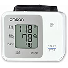 Omron HEM 6121 Fully Automatic Wrist Type Digital Blood Pressure Monitor With Intellisense Technology & Cuff Wrapping Guide For Most Accurate Measurement
