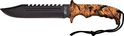 MTech USA Outdoormesser MT-20-57 Serie, Messer NYLON FIBRE Griff CAMO, scharfes Jagdmesser, Taschenmesser 17,78 cm ROSTFREI Klinge Feststehend Halbgezahnt, Überlebensmesser für  Angeln/ Jagd
