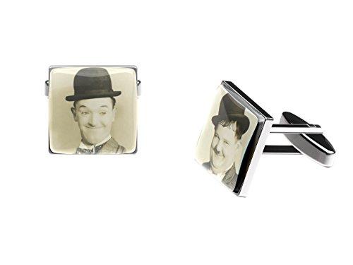 Cuffs 'N' Collars Laurel et Hardy Boutons de manchette (comédie classique Duo Boutons de manchette avec boîte cadeau)