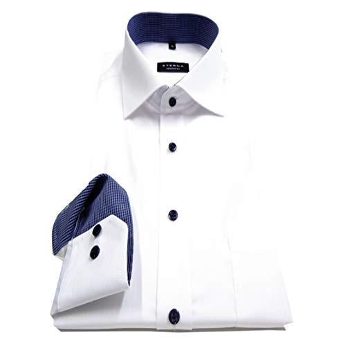 eterna Herren Langarmhemd Business-Hemd Comfort Fit Kent-Kragen unifarben mit Patch (Weiß F1, 41)