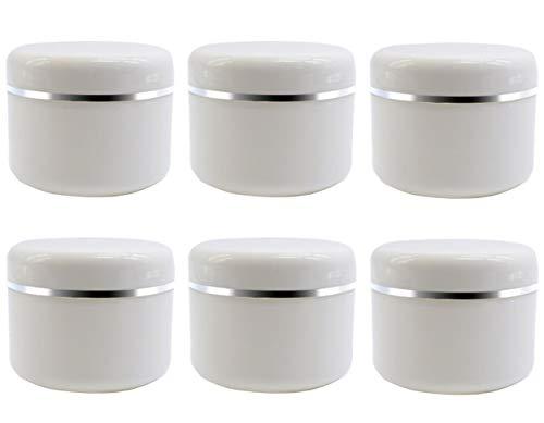 6leer Refill weiß Kunststoff Make-up Kosmetik Flasche Jar Töpfe mit Schraube Deckel und PP rutschsicher 50G/1.7oz weiß