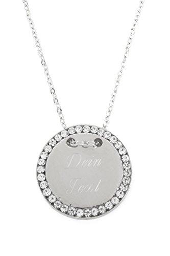 Halskette MIT GRAVUR - Gravurplatte 2,5 cm Münze Rund mit Strasssteinen, - Mit Gravur Halskette