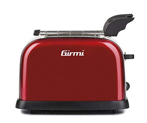 Girmi tp55 tostapane in acciaio, 800w, rosso
