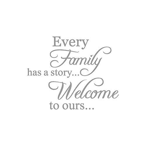 """Rovinci Decorativo""""Every Family Has A Story.Welcome To ours"""" Letra impresa Extraíble Arte Vinilo Mural Home Room Decoration Pegatinas de pared dormitorio salón (Gris)"""